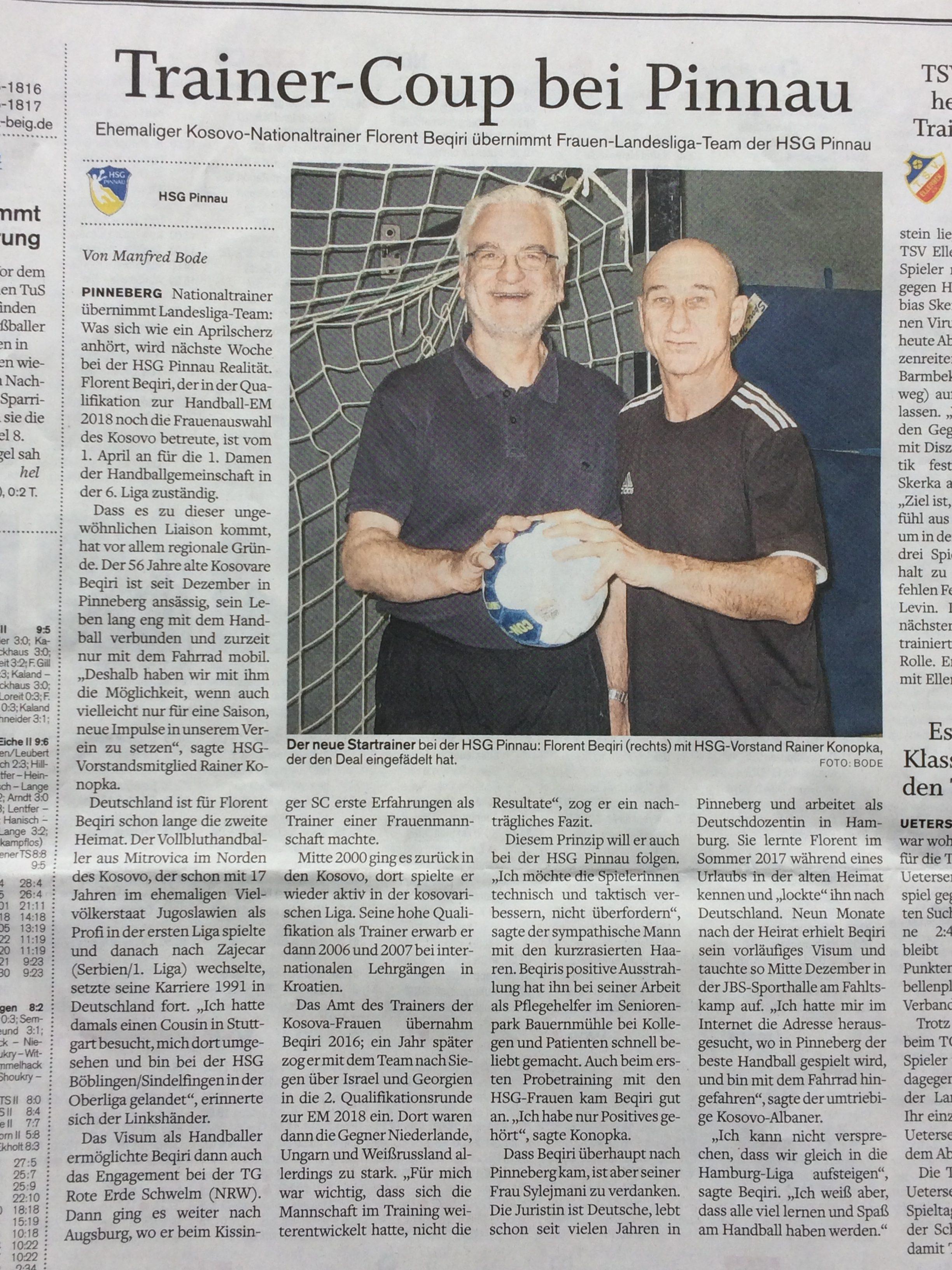 Trainer-Coup bei Pinnau. Wir begrüßen den ehemaligen Kosovo-Trainer Florent Beqiri bei der HSG.